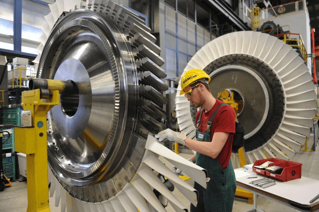 Techniker beim Triebwerksbau
