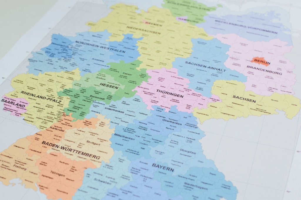 Deutschlandkarte mit deutschen Bundesländern