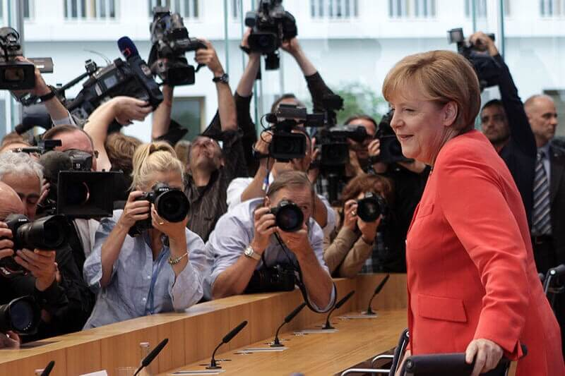 Deutsche Bundeskanzlerin Angela Merkel bei einer Pressekonferenz
