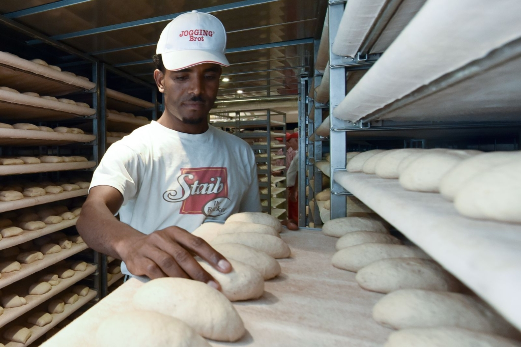 Young man working in a large bakery